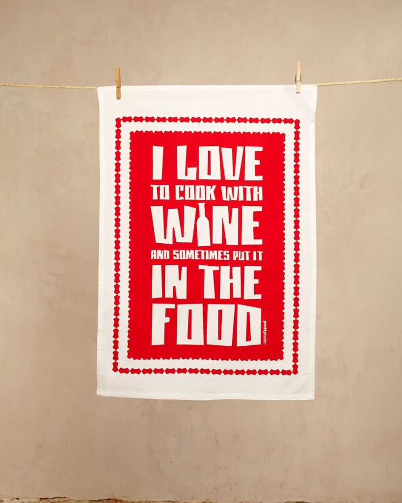 I love to cook with wine towel