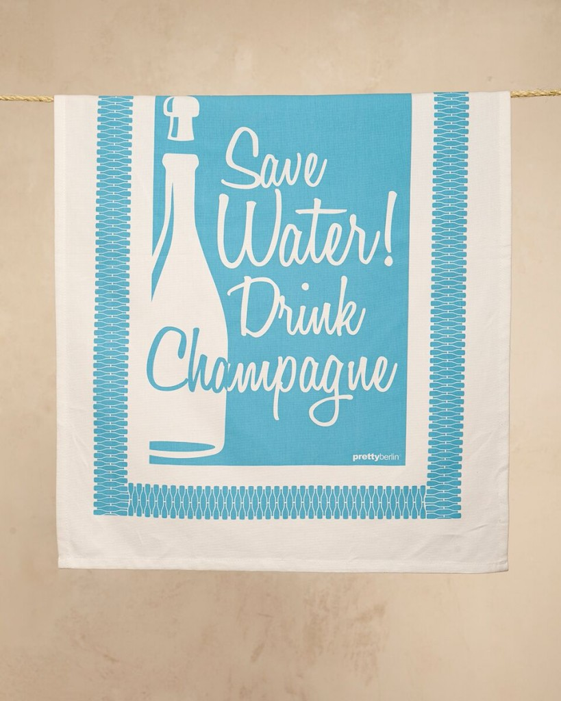 Save water drink Champagne towel 2